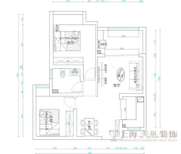 和昌都汇广场2号楼90平米两室两厅装修户型图及平面布局方案