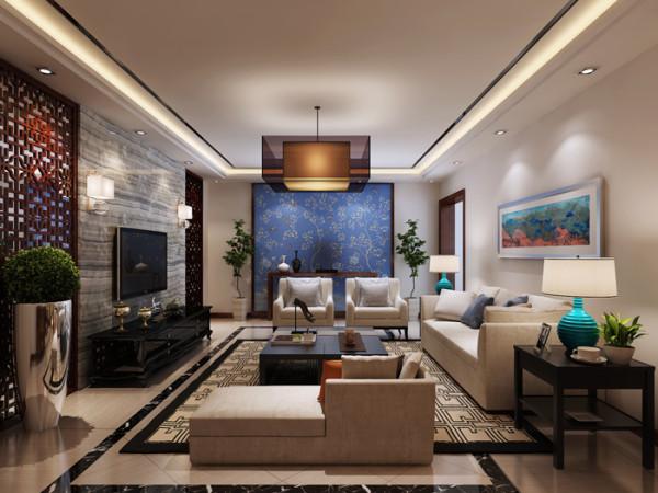 紫金庄园(179平)三居室户型新中式风格客厅效果图展示