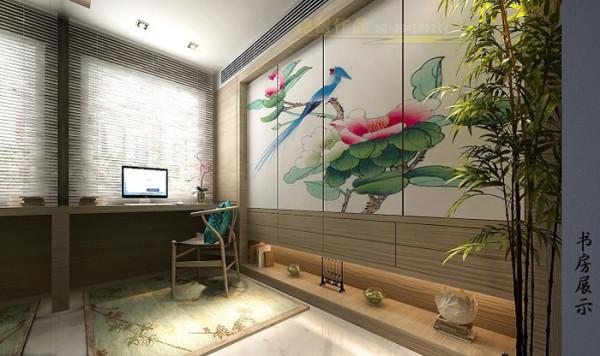 紫金庄园(179平)三居室户型新中式风格书房效果图展示