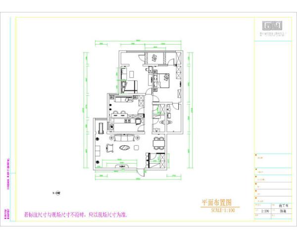 紫金庄园(179平)三居室户型新中式风格平面布置图展示