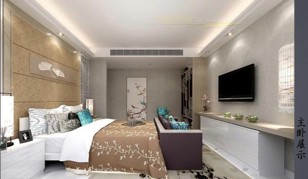 紫金庄园(179平)三居室户型新中式风格卧室效果图展示