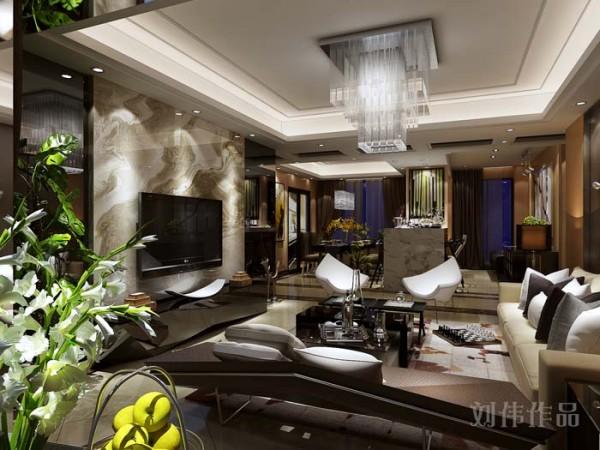 业之峰装饰公司设计师在设计此区域时,主要运用黑色玻璃线条感强的茶几、电视柜和米色的沙发,现代感很强的石材电视墙面,时尚水晶吊灯的完美搭配。