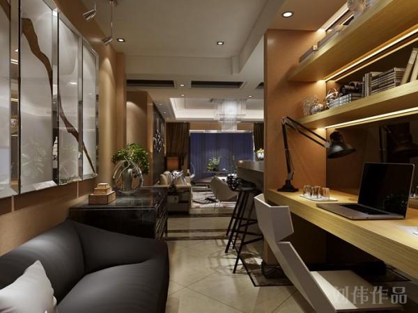 业之峰装饰设计师在设计此区域时,主要是功能的考虑和现代感很强的家具完美的运用和反搭配。
