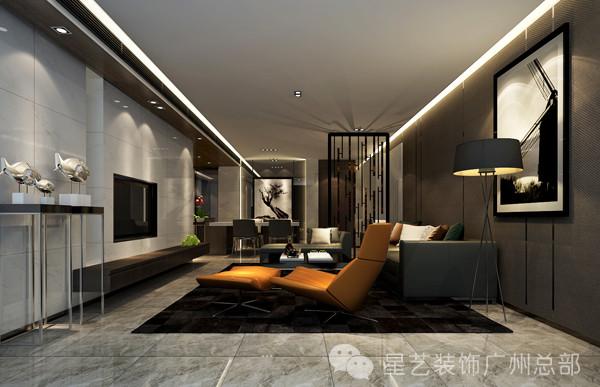 客厅墙面材质以冷感的大理石和温和材质的皮革对比,增加了空间的丰富性,设计师将色彩感控制在中性的调子里,力求在心理上给使用者一个平和、宁谧的居住空间。