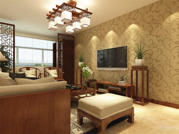 本次的设计风格是中式。客厅用的是浅黄色的乳胶漆,地面是暖色的地砖,家具以红木色为主。