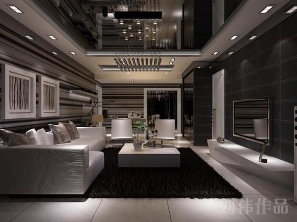 业之峰装饰设计师在设计此区域时,主要运用墙面条纹壁纸,顶面镜子,和现代时尚的家个,水晶灯的完美搭配和运用,让整个空间大气时尚,更现代。