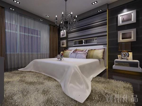 业之峰装饰设计师在设计此区域时,墙面延用客厅的手法,将现代的家具,时尚的水晶灯,和窗帘的完美搭配。