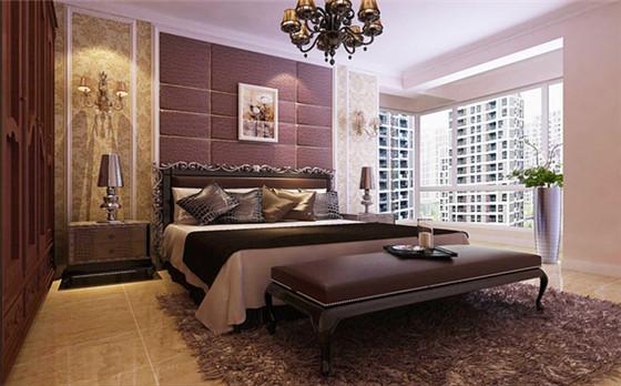 主卧用深咖色软包搭配,搭配红木家具,更显得主人公的高雅生活