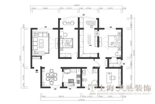 鑫隆花园170平米三室两厅装修户型图及平面布局方案