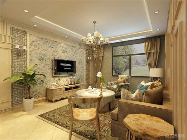 本户型为首创城户型图二期高层标准层D户两室一厅一厨一卫99.00㎡的户型。设计风格为田园风格。