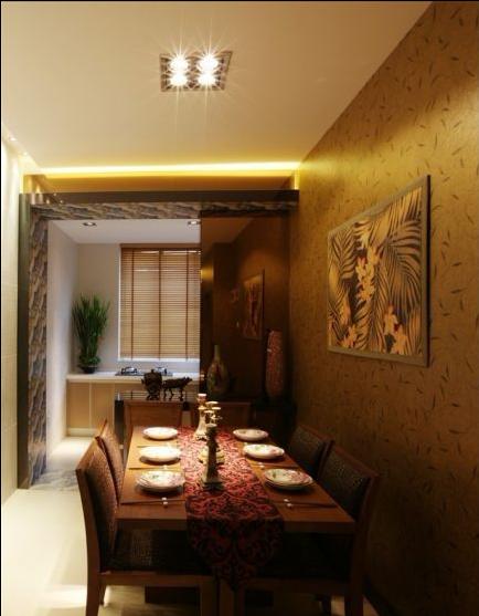 餐厅的风格与装饰用材几乎完全一样,也是东南亚的风格