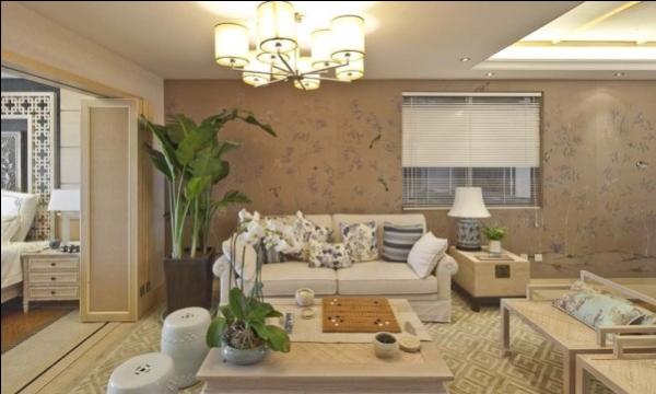 这套设计中大量运用了现代元素的物品来打造,如布艺沙发
