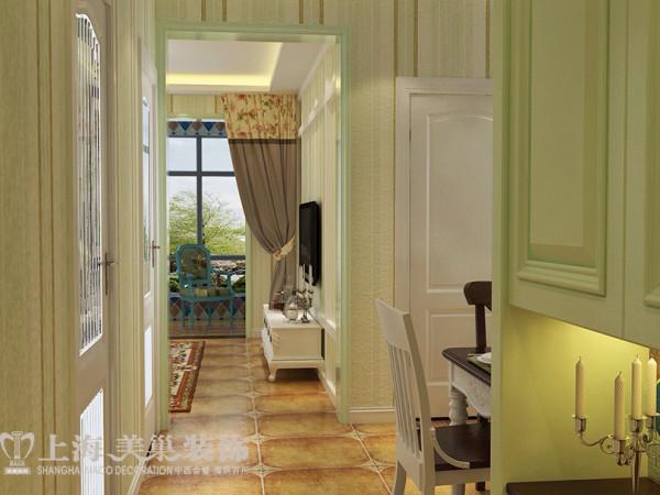 盛润锦绣城美式乡村装修83平两室两厅案例效果图——入户门厅效果图
