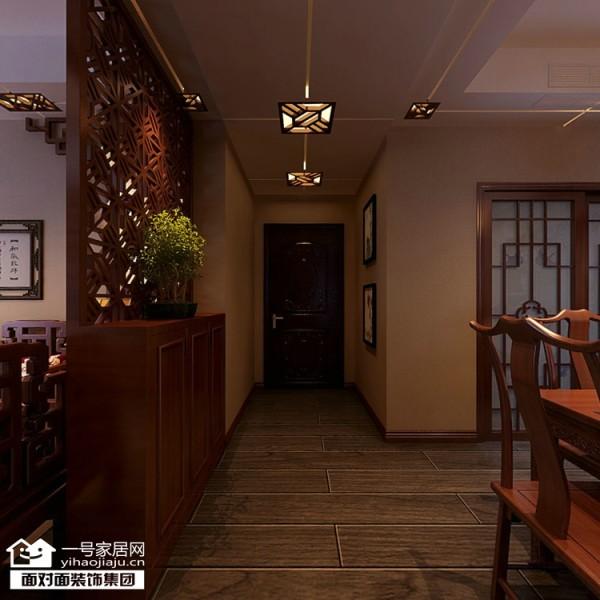 大华南湖公园世家153平中式风格走廊效果图