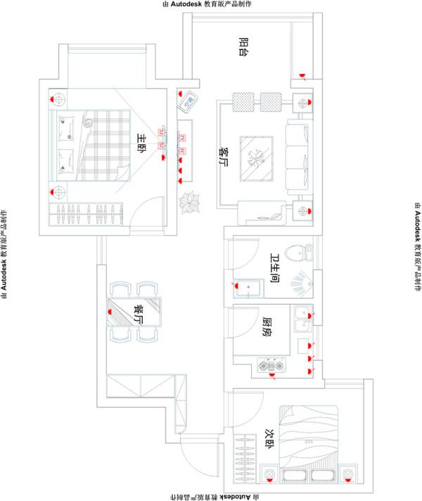 盛润锦绣城16#83平两室两厅美式装修效果图案例——户型平面图