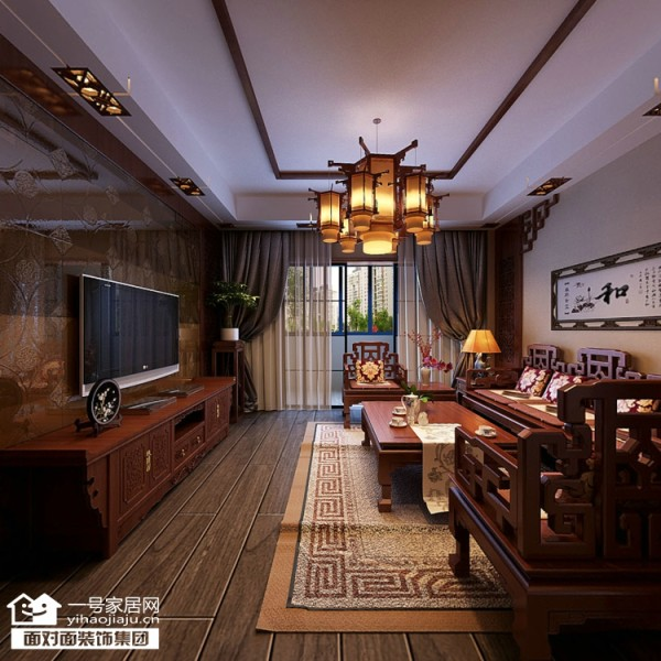 大华南湖公园世家153平中式风格客厅效果图