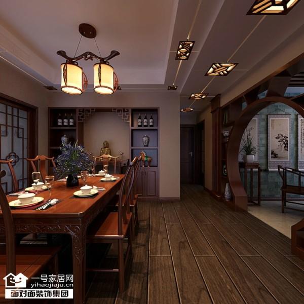 大华南湖公园世家153平中式风格餐厅效果图