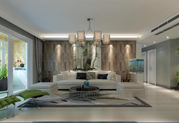 客厅的沙发背景墙面采用木质纹理的壁纸做铺贴,看上去非常的温馨,沙发选用白色。两种颜色搭配起来很有干净、贴近自然。