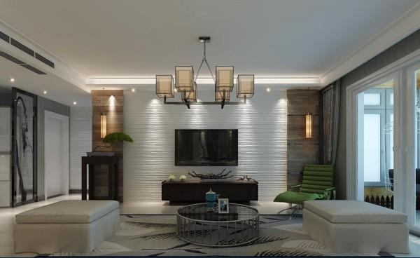 客厅的影视墙面设计效果,两侧采用原木做装饰,中间用腻子粉做拉毛处理,做造型墙面。这也是极简风格的经典搭配哦