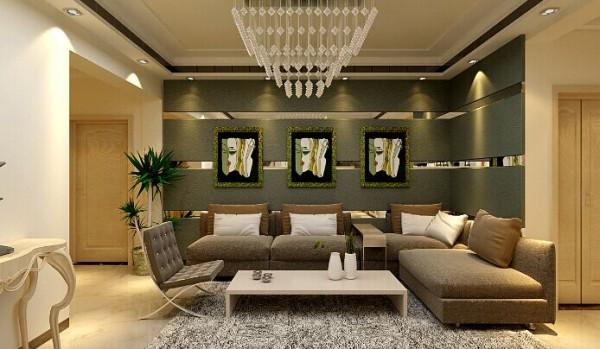 沙发背景墙采用墙面安藏灯带,电视墙两面用红衫木为装饰饰面,附以黑白根云石加以点缀洁的造型、完美的细节,营造出时尚前卫的感觉
