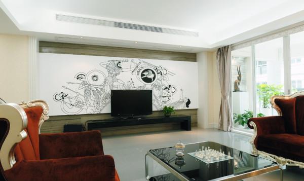极具现代风格的电视背景墙,采用现代感的绘画,使整个空间更为灵动