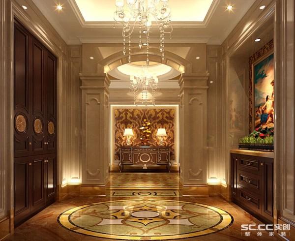 客厅设计: 门厅的地砖图案是用了古典图案的造型,大气而又充满皇室的神秘,吊灯的选择用了奢华版吊灯,华贵而不繁琐