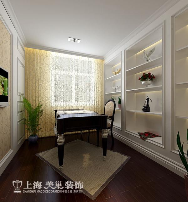 建业贰号城邦160平四室两厅新古典装修案例——书房布局效果图