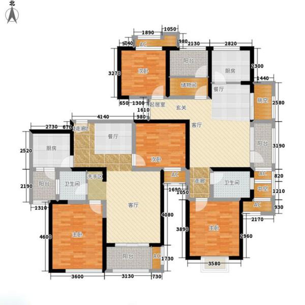 贰号城邦160平四室两厅新古典装修案例——户型平面图