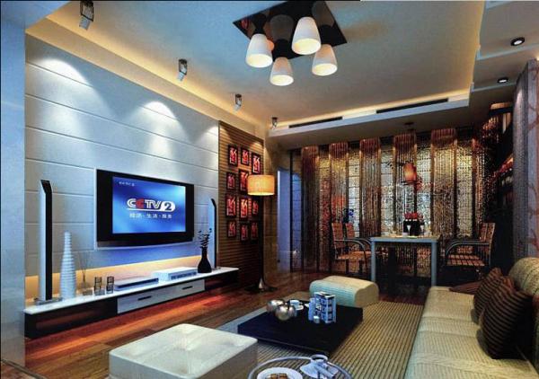 客厅明确的表现了居士的艺术气息;电视墙上的乳胶直纹拉缝,其造型简洁、价格适中,是现行业中聚焦点
