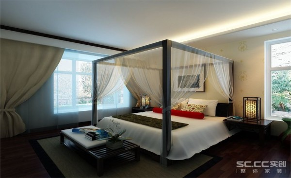 卧室设计: 通过一些配饰很好的诠释新中式惬意的感觉。清新、自然的家具配合朴素的布艺装饰,彰显主人的气质,诠释新中式的风格。