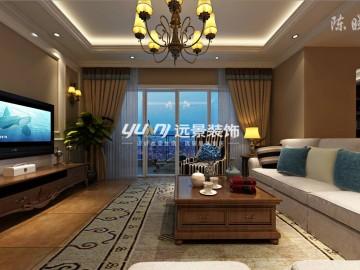 现代美式 客厅效果图
