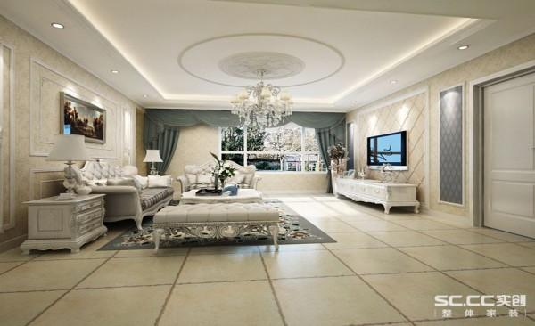 客厅设计: 圆形的吊顶,加以硬装背景墙,使整个客厅显得高雅而清新。以白色为主,硬装为基,烘托出整个空间现代时尚之感。