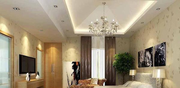 卧室的装饰画采用不对称的方式,很是别致。
