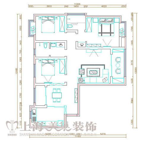 锦艺国际华都130四室两厅新中式装修案例户型平面图——美巢装饰