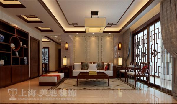 锦艺国际华都新中式装修130四室两厅效果图案例——沙发背景墙装修效果图