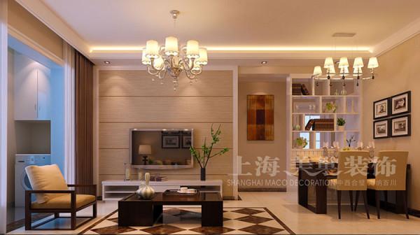 正商明钻三室两厅118平现代简约案例——客厅及电视背景墙装修效果图