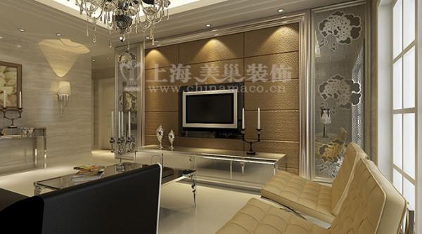 逸品香山134平三室两厅现代简约装修效果图案例——客厅电视背景墙效果图