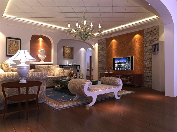 房子门厅比较狭长,所以在顶面设计了一个灯带,里面做欧式斜线造型处理,加上石膏线能体现出空间的层次感。