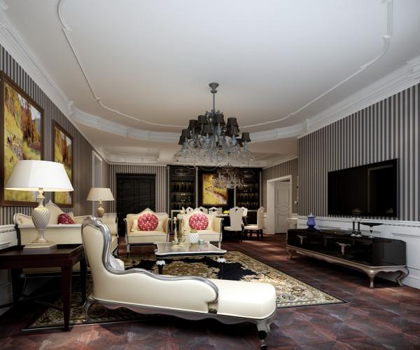 展现现代美式的内涵,质感的拼花地板,从顶面做功能分区,简单的条文壁纸和复古的地板让生活更有质感