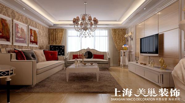 瀚宇天悦117平方三室两厅客厅装修效果图---沙发背景采用的是欧式的暗花壁纸处理,和电视背景墙的护墙板和石材结合,让整个空间材质、色彩更丰富。