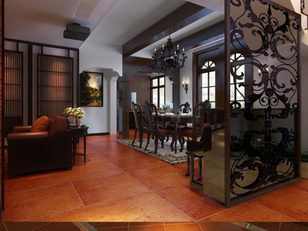 木质雕花与博古架相结合更好的区分开了餐厅和影音室,使整个空间更加通透,大气