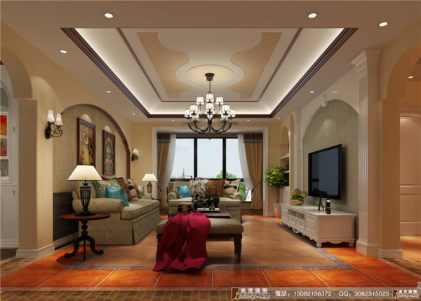 中海九号公馆装修客厅细节效果图---高度国际装饰
