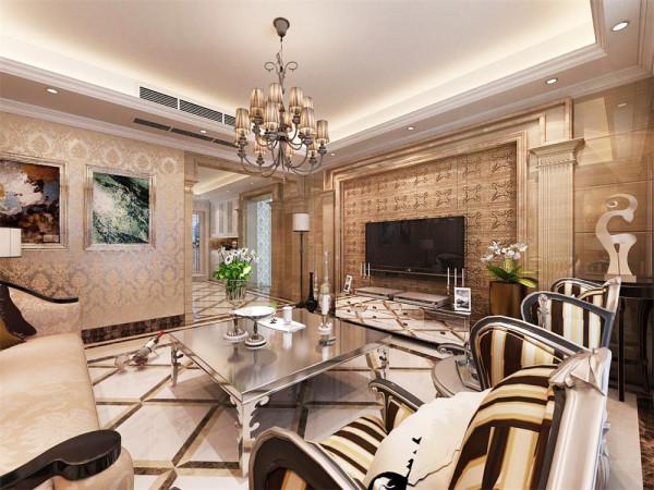 本方案是以欧式风格设计的,进门是个门厅,有门厅柜,顶面是回子型灯池吊顶,地面造型:三层波打线分别是深咖爵士白和深咖,中间是800*800大理石斜铺拼花。