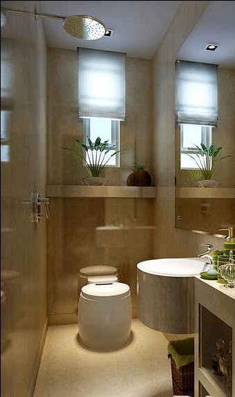 卫生间设计应该说是最简单的,因为它只要是合理的具备了那些设备和功能应该就可以了。