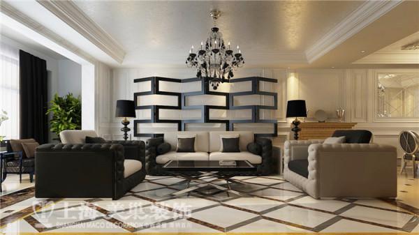 绿地老街5号楼4室2厅样板间装修效果图-沙发背景墙装修效果图,整个客餐厅的饱满,稳重,在平稳中寻求个性。