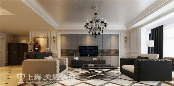 绿地老街190平方四室两厅现代简约风格装修案例-电视背景墙装修效果图,白色护墙板和灰色硬包的结合,刚柔结合让整个空间更加稳重