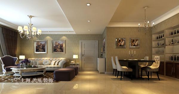 升龙城三室两厅135平简欧案例——客餐厅全景装饰效果图,优雅整洁的视觉效果配以油画,稍显文艺气息。