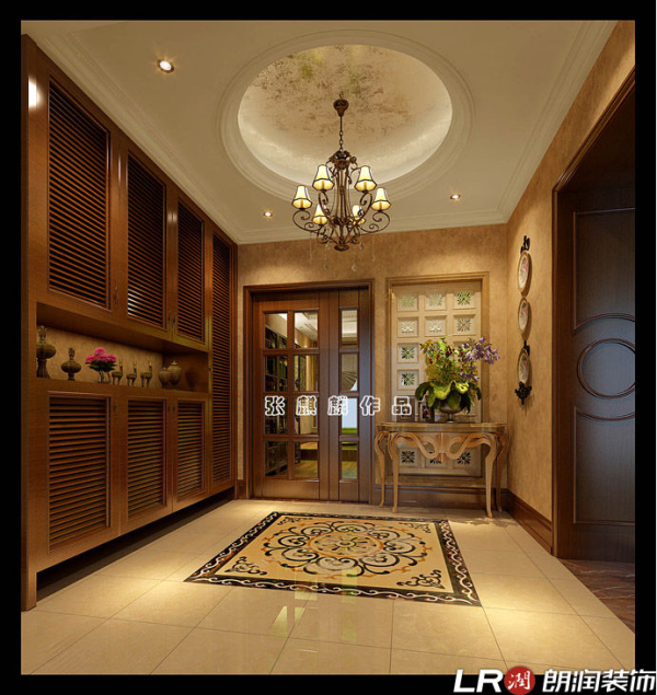 确把地面在传统美式中一般考虑木地板的材质做成了全抛釉瓷砖,符合中国人的生活习惯,经久耐用、易打理卫生、通透亮丽的实用价值理念。