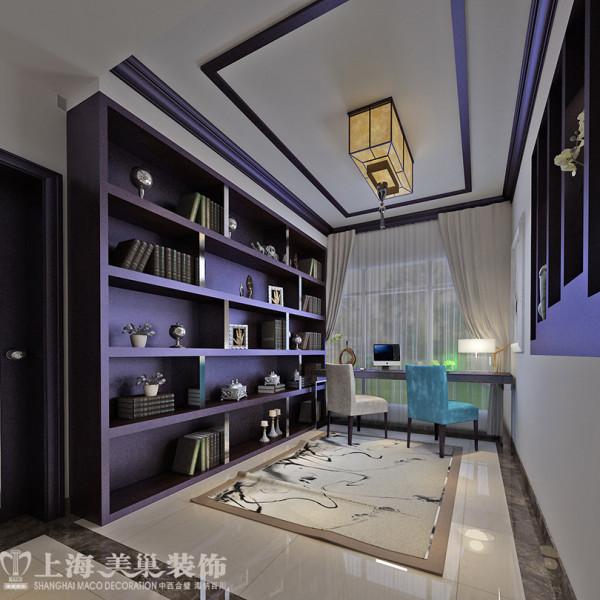 锦艺国际华都118平三室两厅装修案例新中式效果图——入户花园改造成开敞式书房,尽显儒雅的气氛