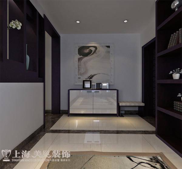 锦艺国际华都118平三室两厅新中式装修样板间案例效果图——入户门,可以让业主一进家门就能看到一个景观出现。